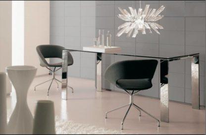 Glazen eettafel valencia helder glas chrome frame