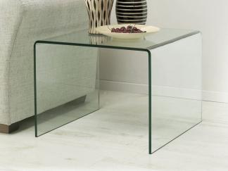 Glazen gebogen hoektafel Cambridge in helder glas