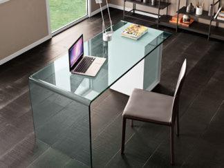 fiam glazen design bureatafel RIALTO L cassettiera (1)