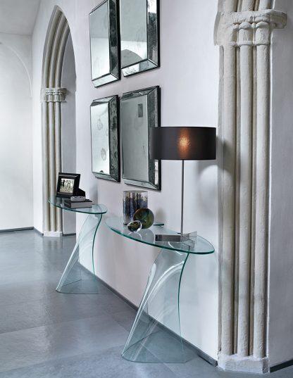 fiam glazen side table gebogen glas dama