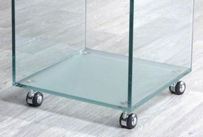 Glazen bijzettafel San Diego op wielen met mat onderblad