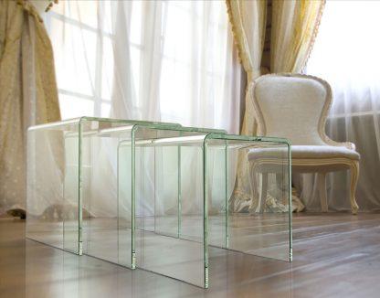 Glazen gebogen tafelset Orlando - extra helder glas