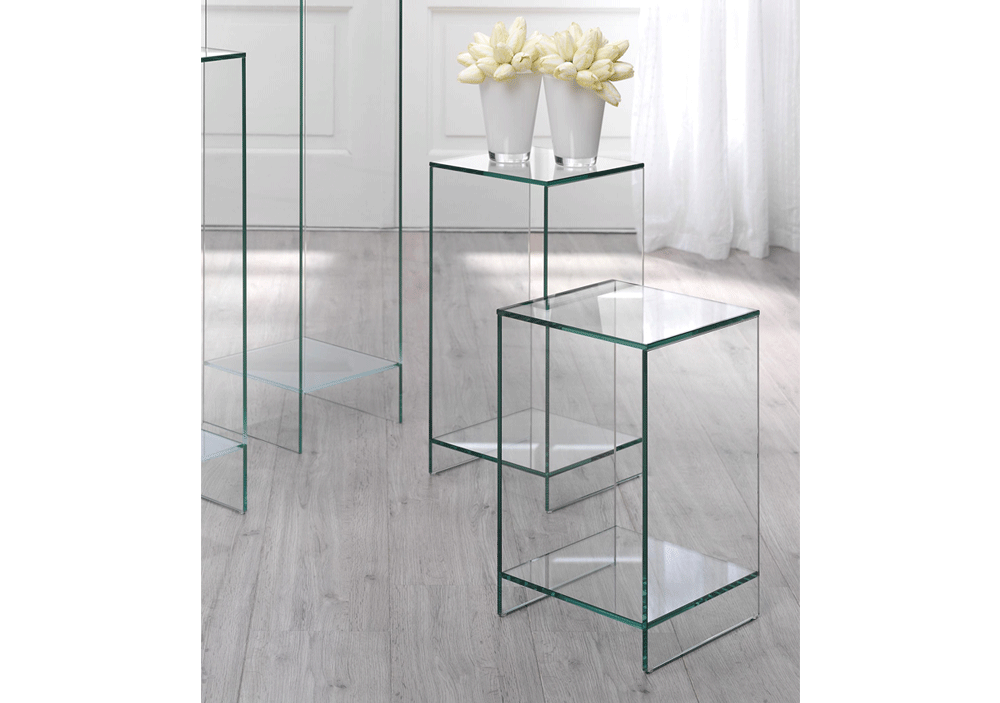 Bijzettafel Glas Chroom Vierkant.Vierkante Glazen Bijzettafel