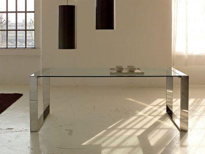 glazen eettafel toleda - helder glas rvs frame of chrome frame