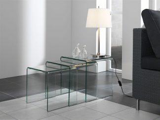 Glazen gebogen tafels set Orlando - helder glas