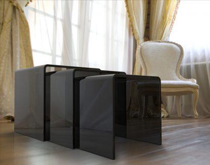 Glazen gebogen tafelset Orlando grijs glas