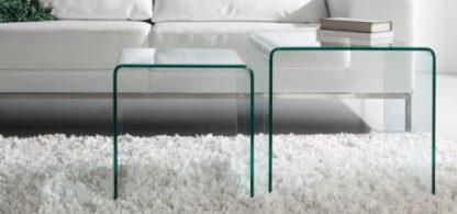 Glazen gebogen tafel set Orlando - helder glas