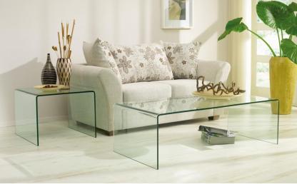 glazen salontafel Alesso in gebogen glas 120x60xh43