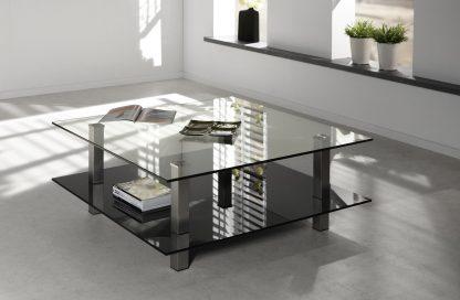 glazen salontafel firenze vierkant - helder en zwart glas