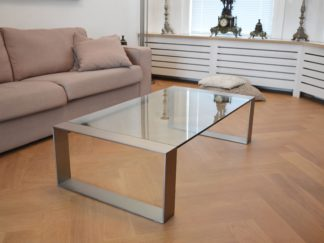 Glazen salontafel Modena rvs frame helder glas