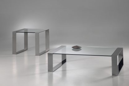 glazen salontafel modena helder glas rvs frame