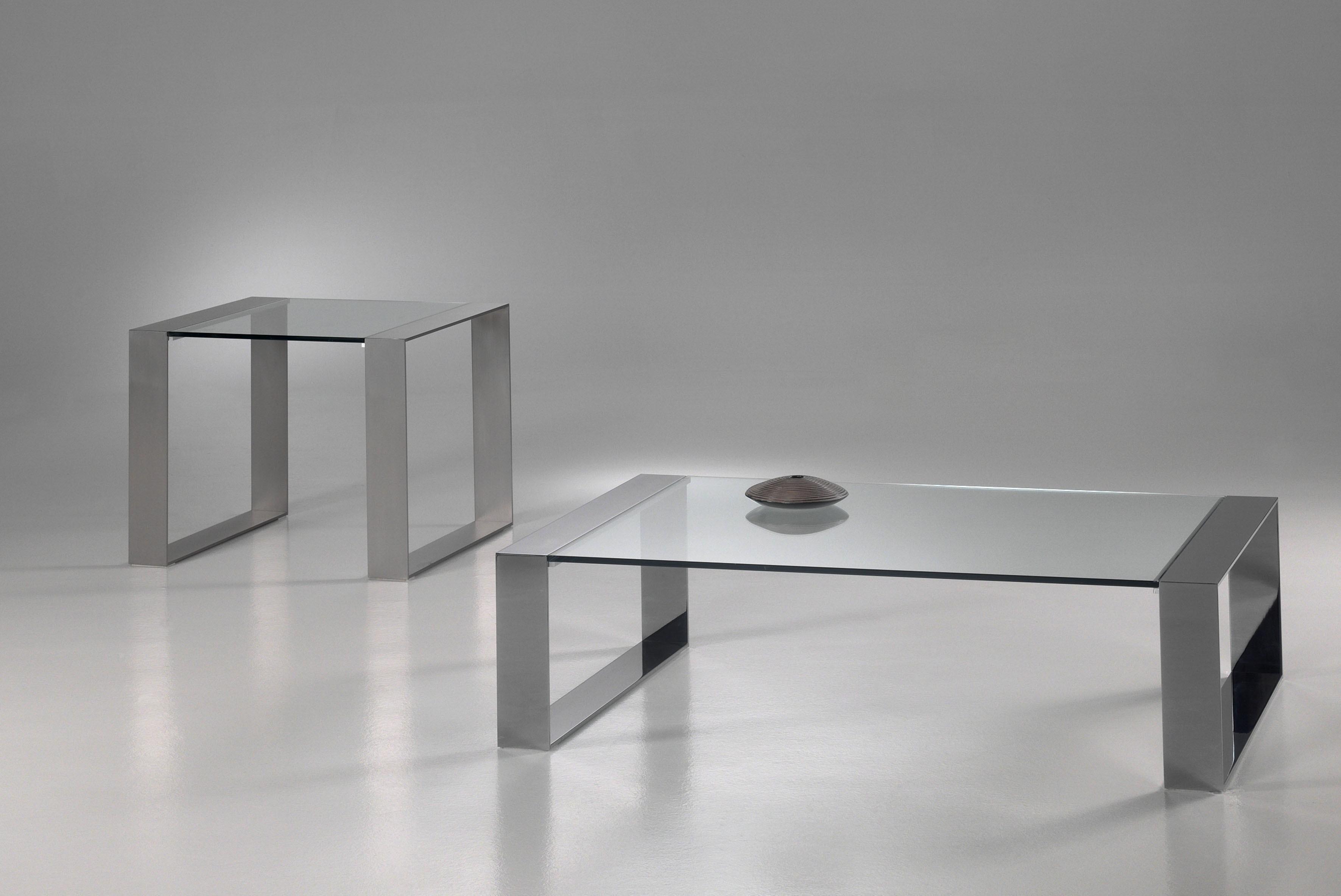 Bijzettafel Glas Chroom Vierkant.Glazen Salontafel Modena