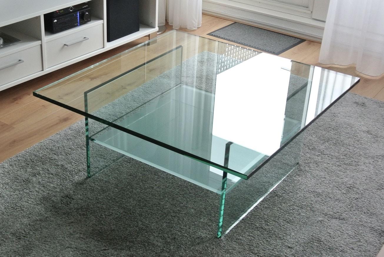 Glazen salontafel ravenna op maat vierkant glazentafel