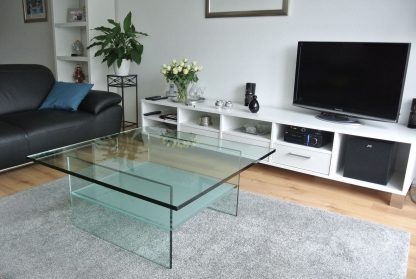 glazen salontafel ravenna vierkant helder glas mat tussenblad