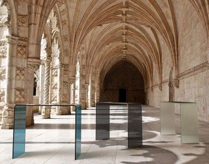 Glazen side table biarritz blauw, grijs of mat glas