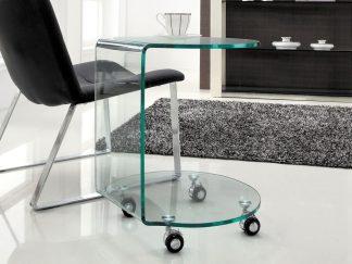 ronde glazen bijzettafel op wielen gebogen glas