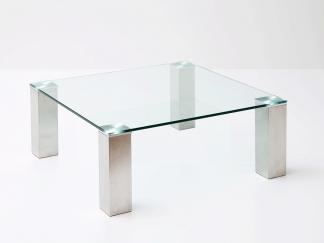 Glazen salontafel Madrid - helder glas vierkante poten