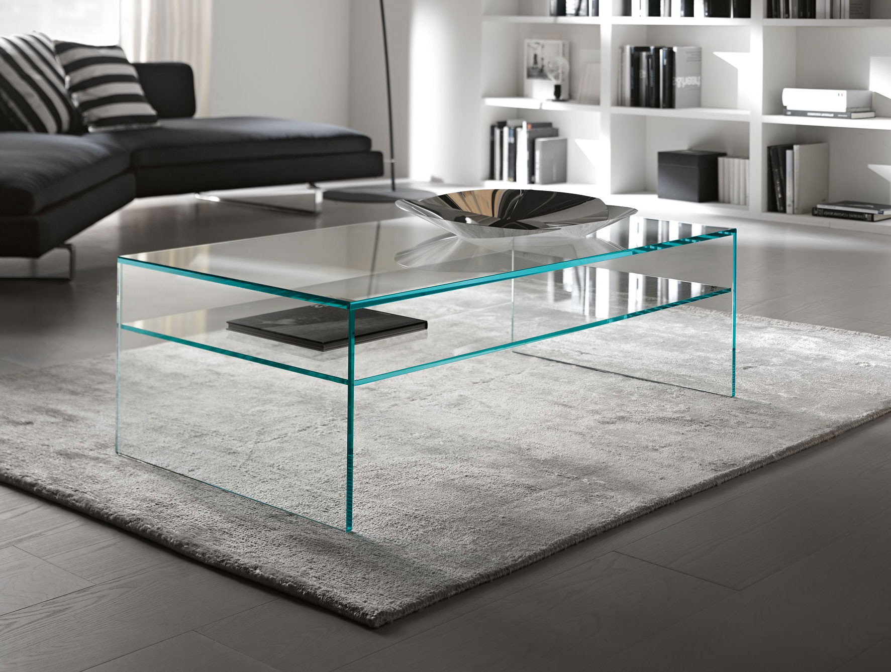 Glazen salontafel milano plus op maat rechthoek glazentafel