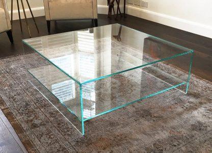 glazen salontafel milano plus vierkant - extra helder glas