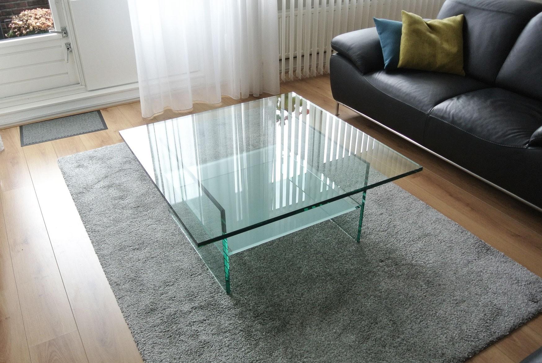 Salontafel Mat Glas.Glazen Salontafel Ravenna Op Maat Vierkant