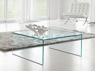 vierkante glazen salontafel milano - extra helder glas