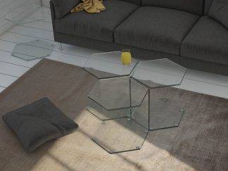 Glazen bijzettafel Denver - zes hoekig in gebogen glas