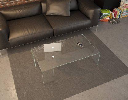 Glazen salontafel Verona - rechthoek gebogen glas extra helder