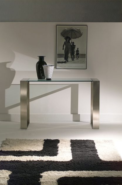 Glazen side table Paris 140x40xh74 - helder glas met rvs frame