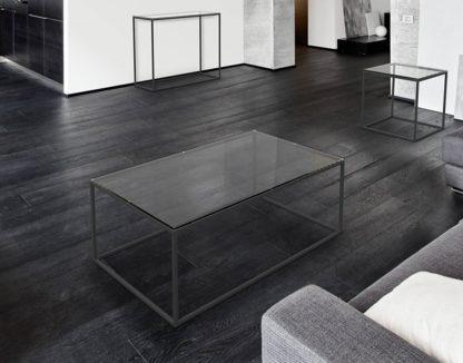 Glazen salontafel Catania - zwart metaal