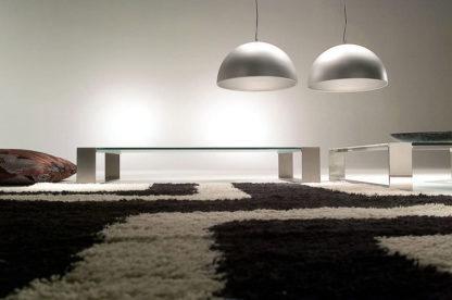 Glazen salontafel Modena rvs frame - helder glas