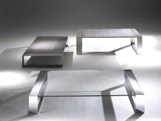 Glazen salontafel modena vierkant rvs frame met helder glas