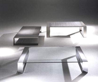 Glazen salontafel Modena rvs frame - helder glas - Italiaans design