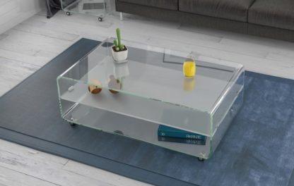 glazen salontafel siena plus - extra helder met mat tusseblad gebogen