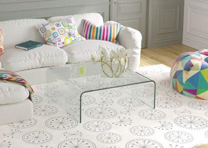 Glazen salontafel Forli - vierkante tafel in helder gebogen glas