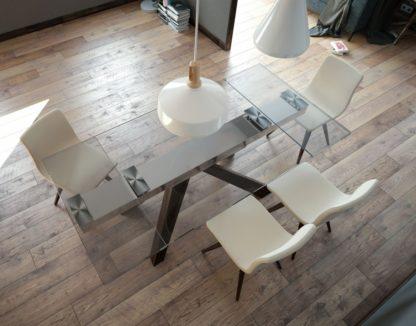 Glazen uitschuiftafel eettafel Sebastian gehard glas en houten onderstel