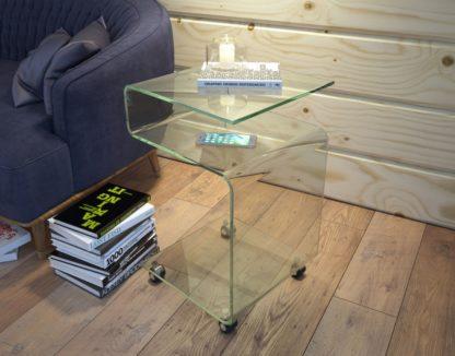 Glazen bijzettafel Louis in gebogen glas en wielen